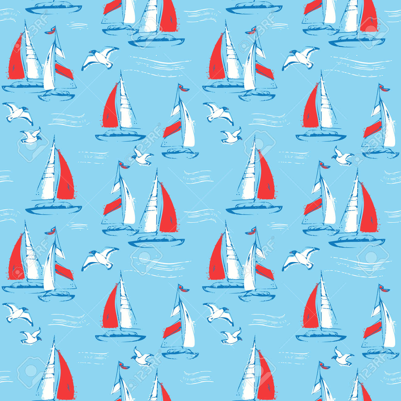 Nautical seamless pattern with sail boats and seagulls. Sea background. Vector illustration. - 171146585