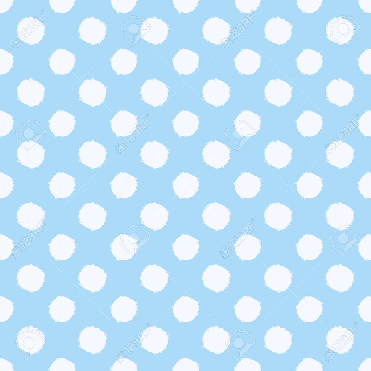 Polka dot seamless pattern. White and blue spotted background. Vector hand-drawn texture. - 171394234