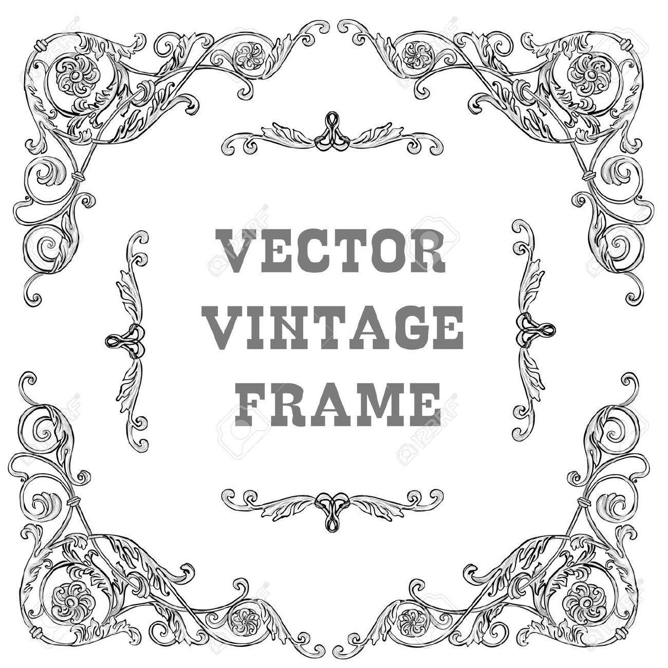 Cadre Baroque Noir Sur Un Fond Blanc Badges Rétro Vintage Avec