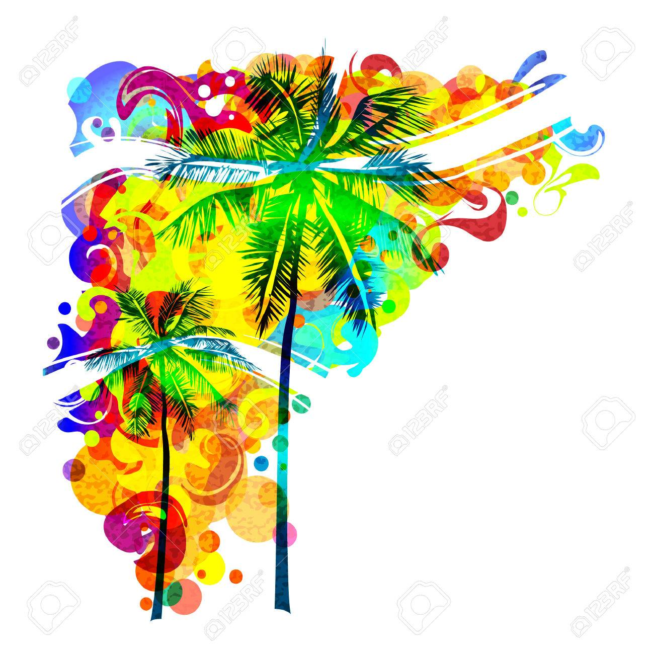 Beach Party Among Palm Trees. Illustration Of Bright Trees On ...