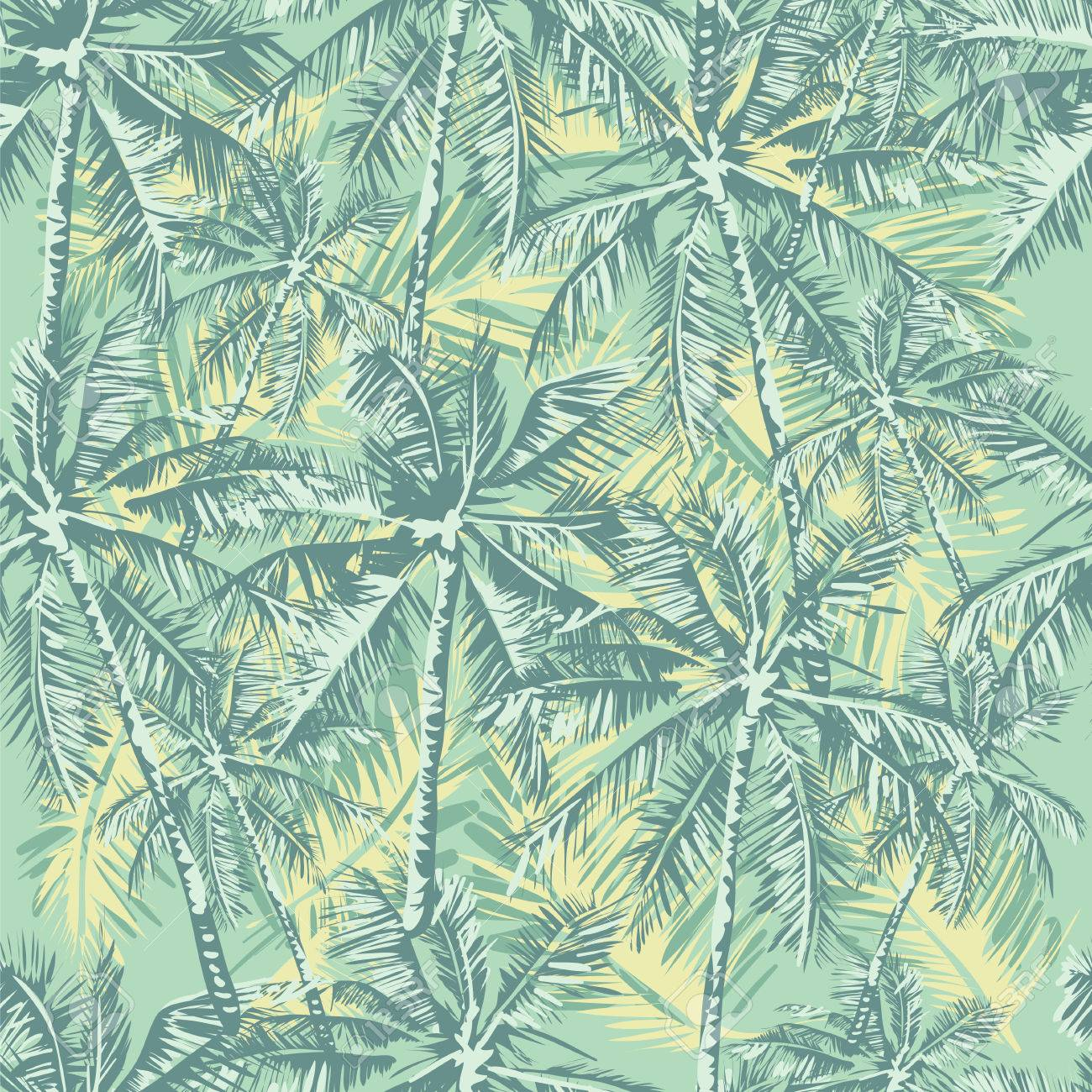 Seamless Vector Tropical Pattern Depicting Palm Trees In Vintage ...