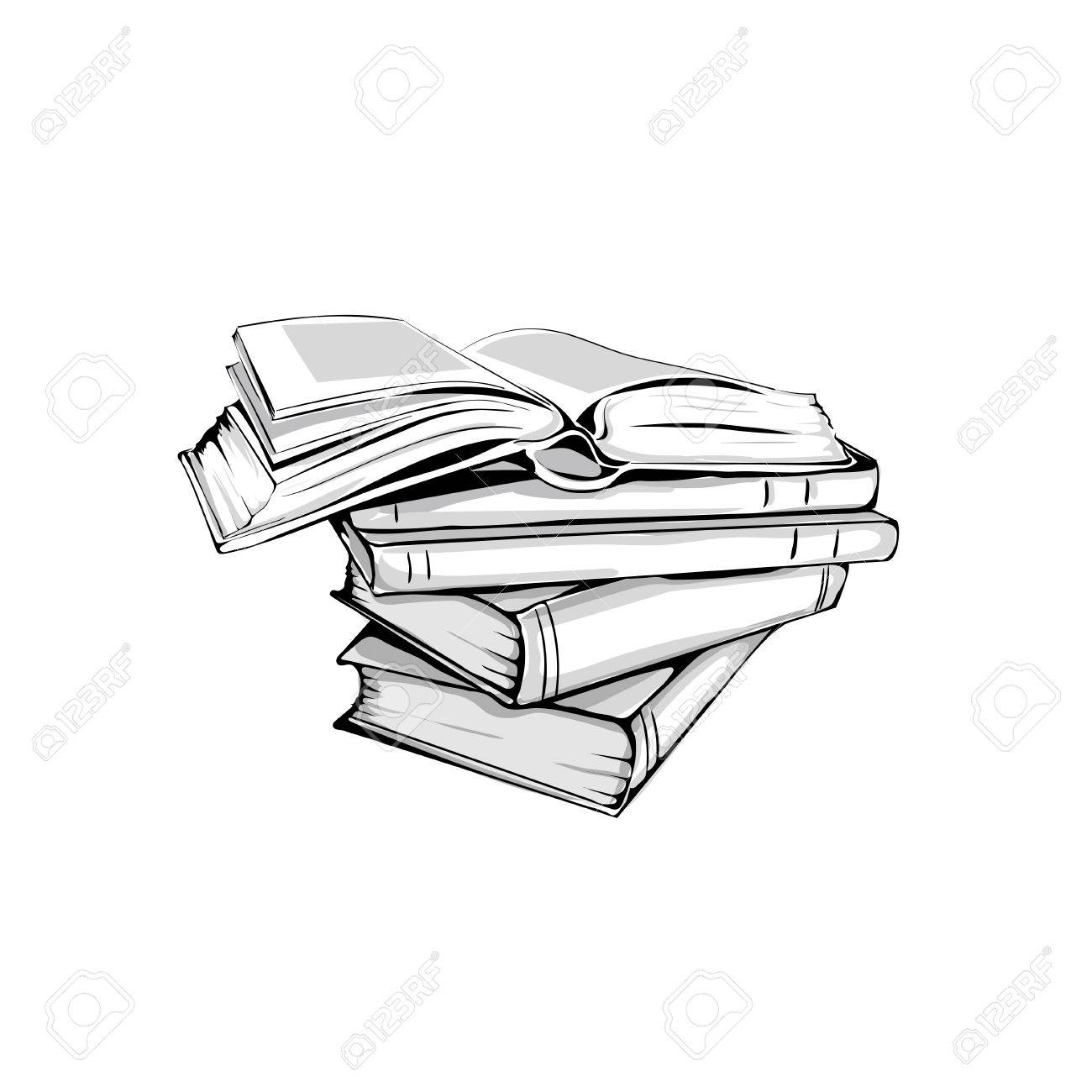 Sketch of a stack of books opened and closed books stacked books and single