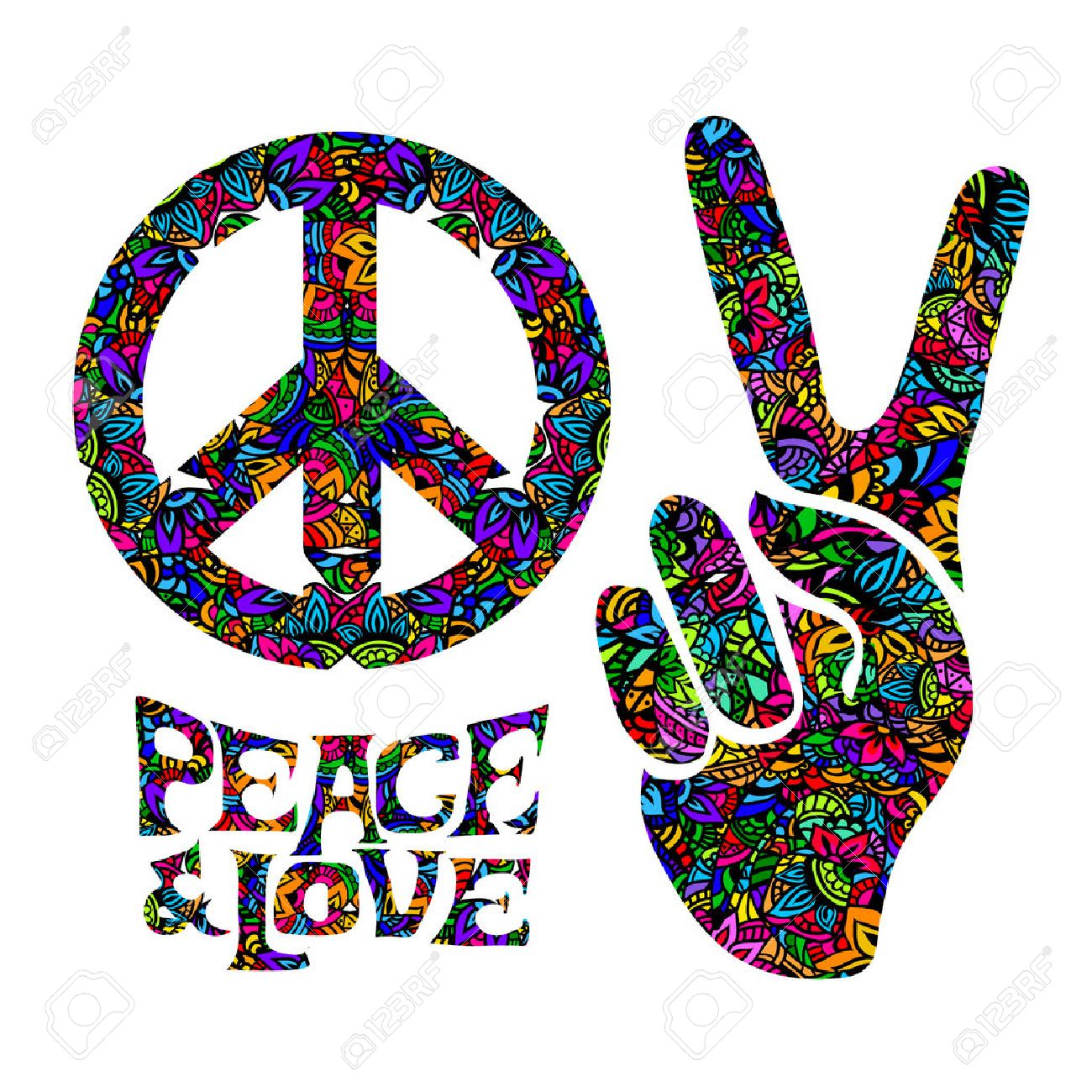 Hippie Symbols Two Fingers As A Sign Of Victory A Sign Of Pacific