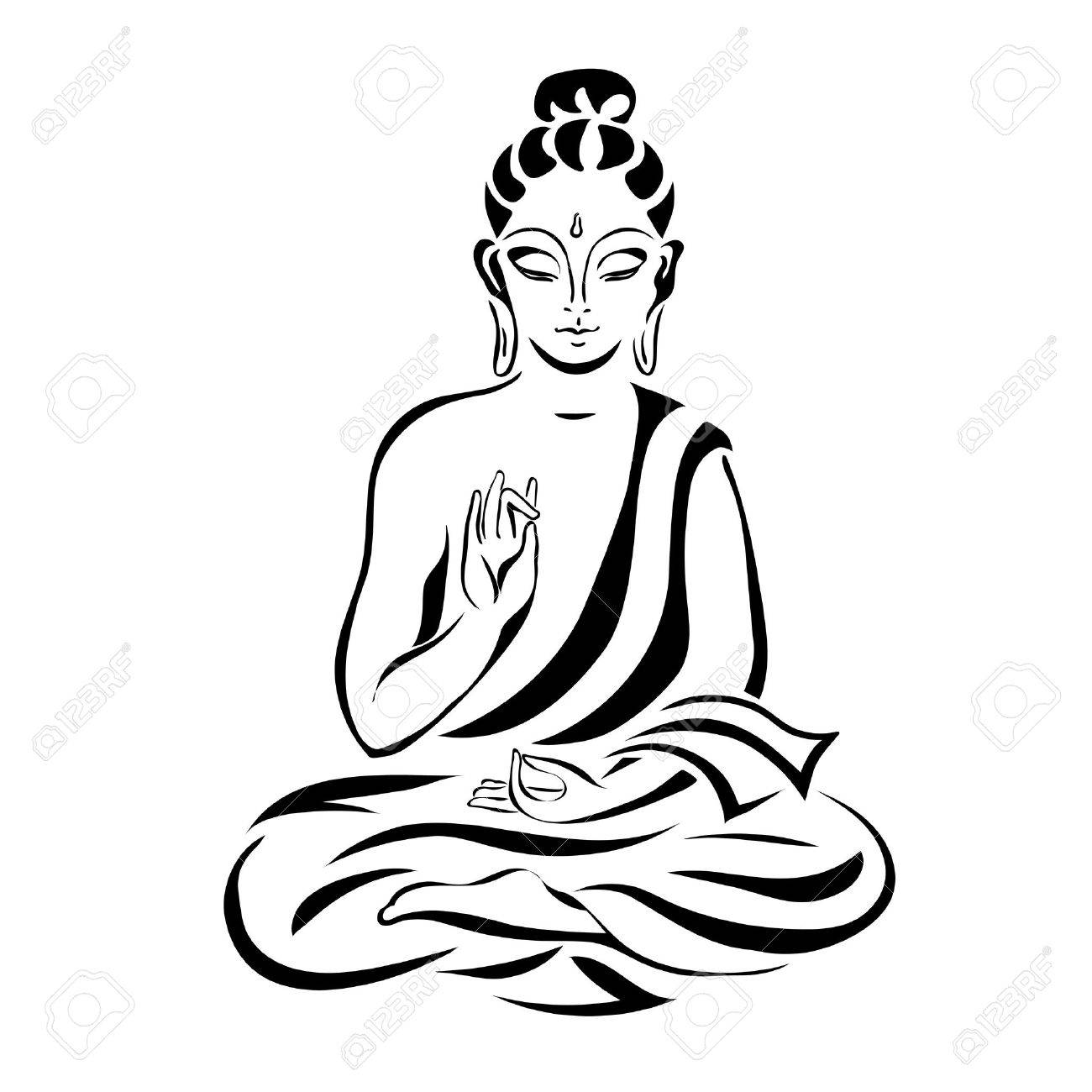Buddha in the lotus position black outlines isolated on white vintage vector decorative