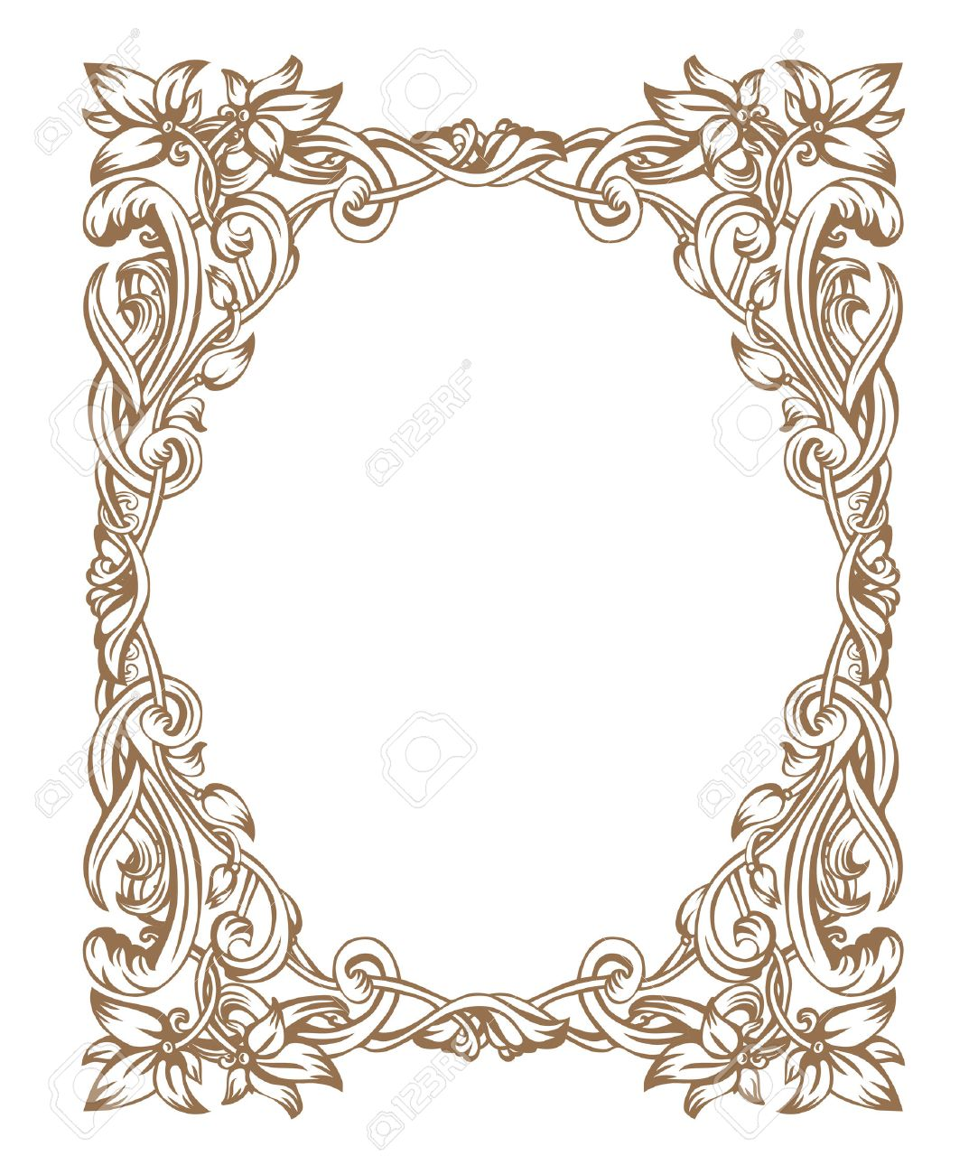 Vector vintage art nouveau frame composed of vignettes leaves and flowers of golden color on a white background