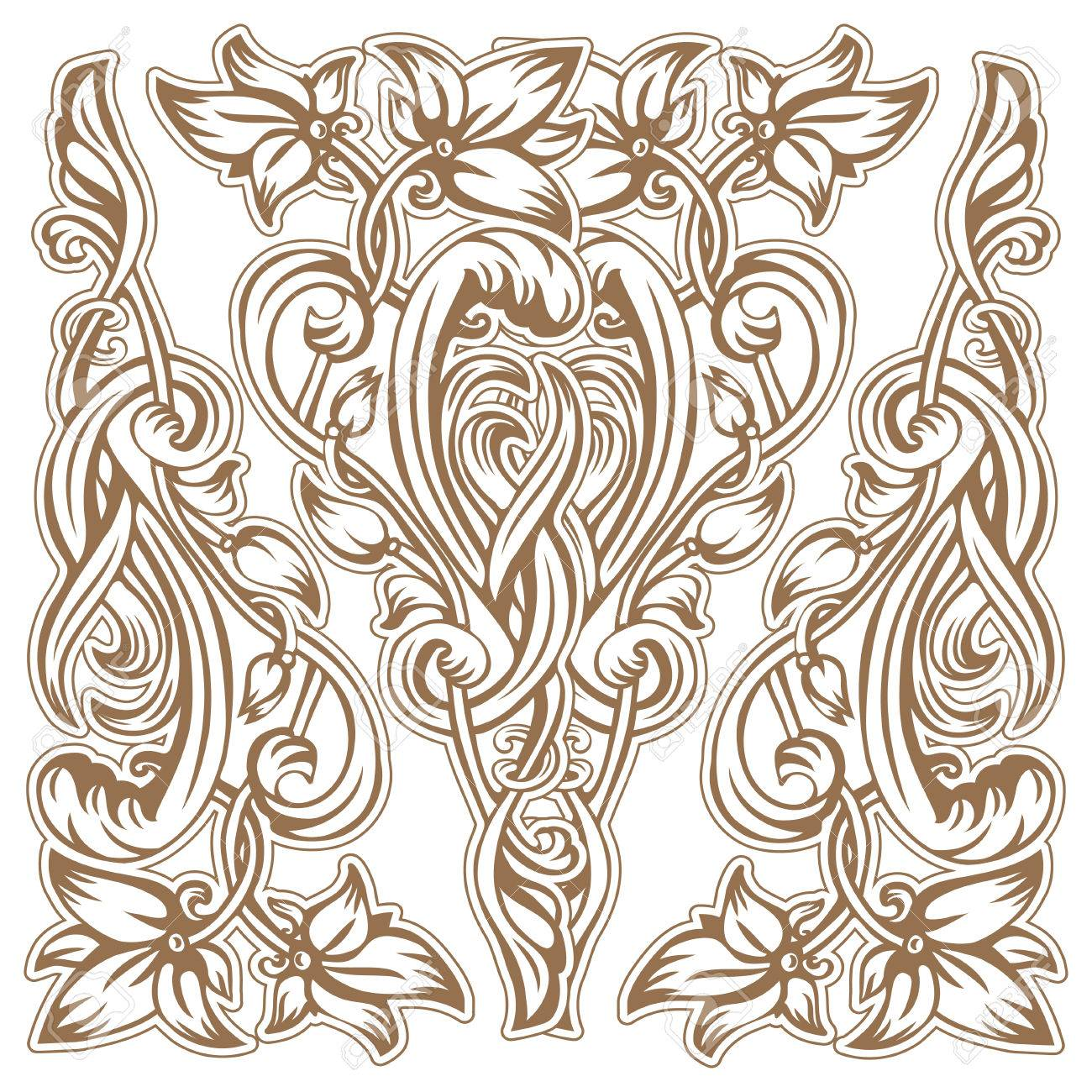 Vector vintage pattern of flowers and leaves in the Art Nouveau style - 51019978