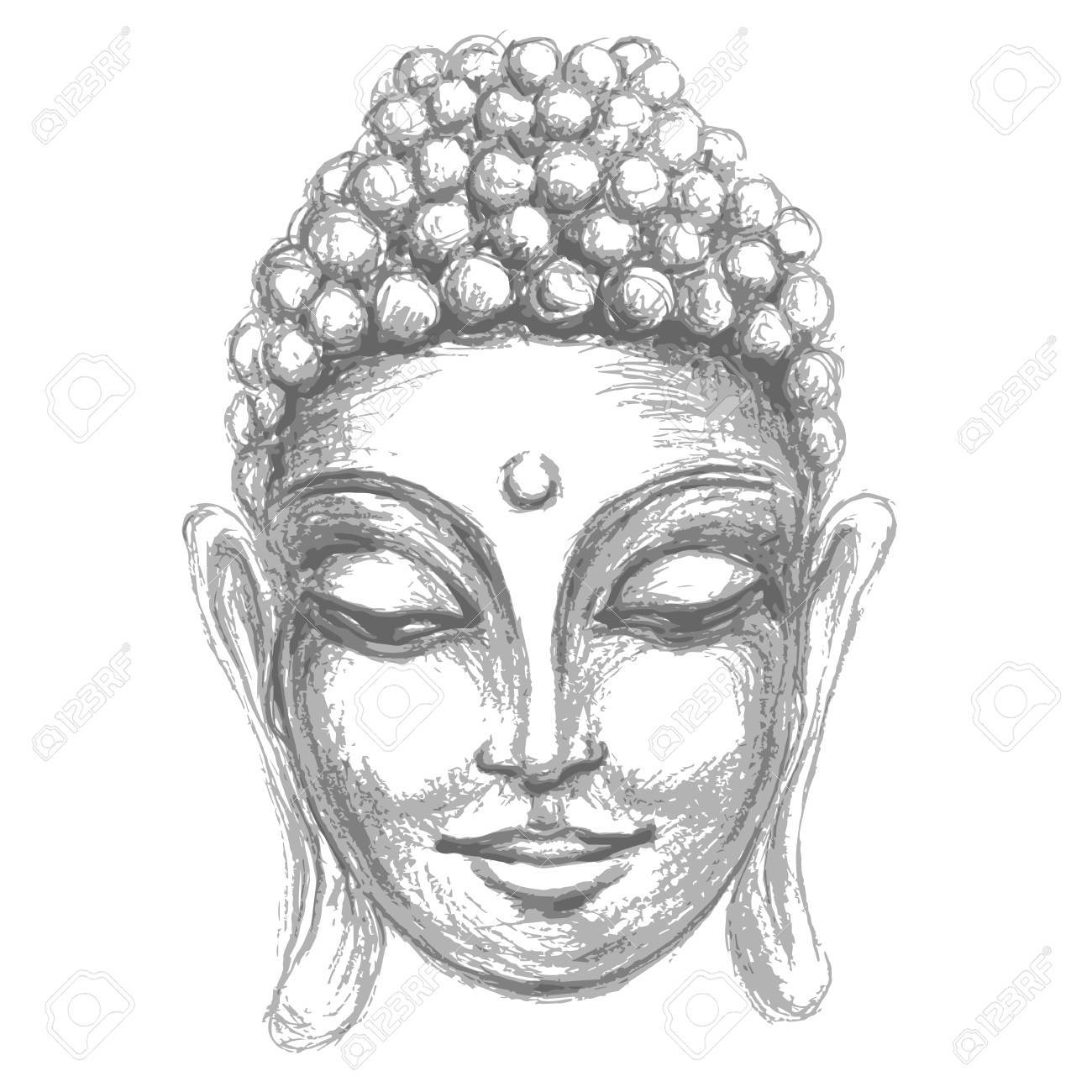 Sketch head smiling buddha in meditation and nirvana in a state of zen stock vector