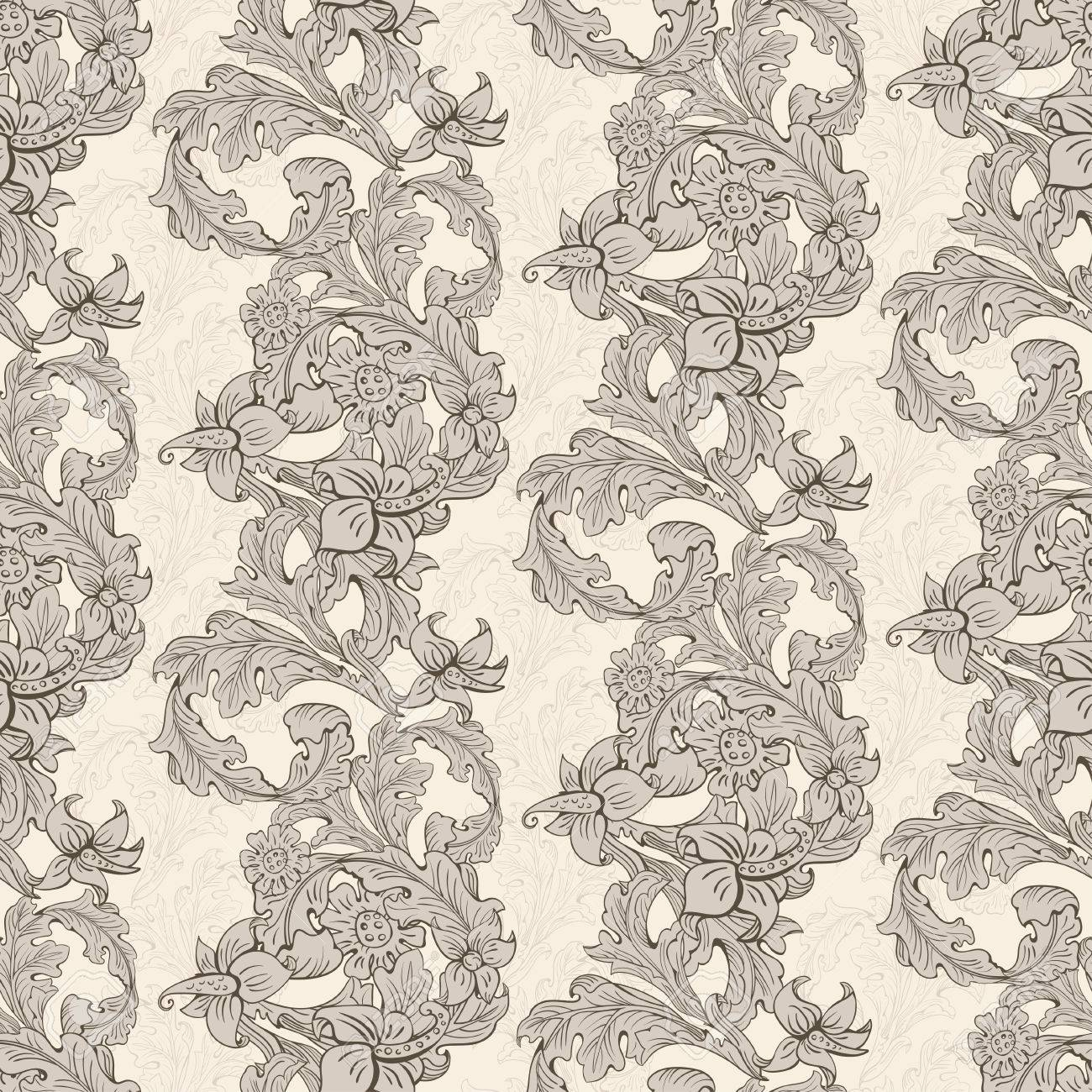 Vintage Wallpaper Seamless Pattern Composed Of Leaves And Flowers