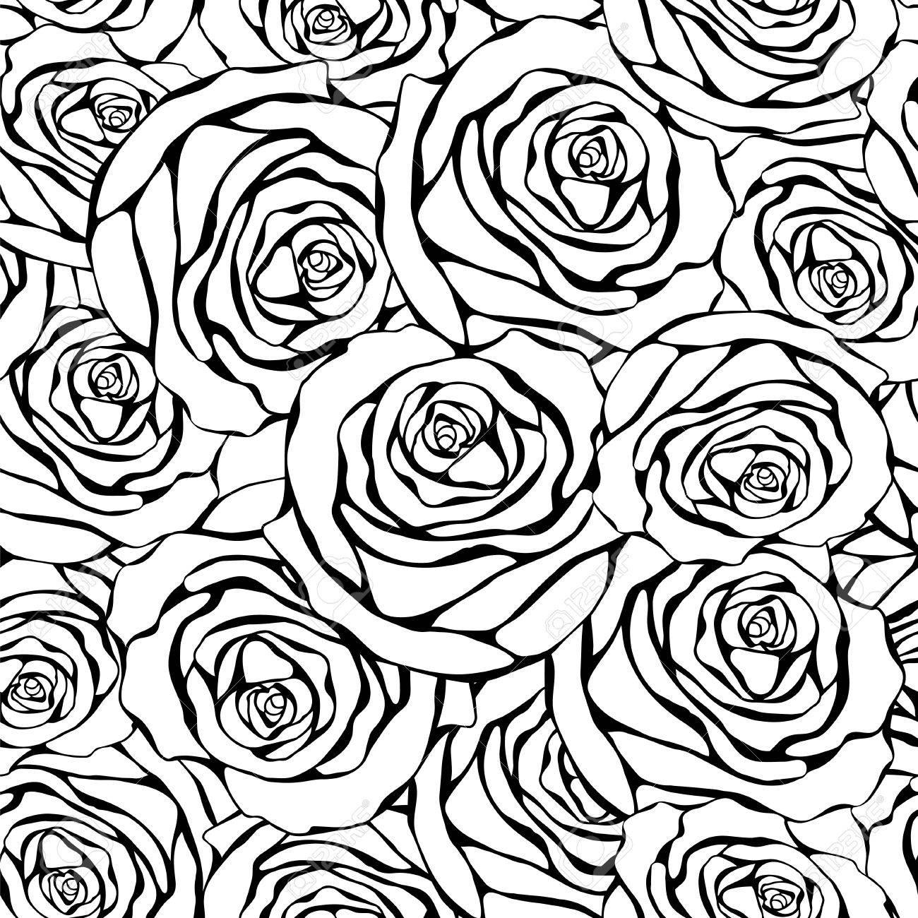 白い背景に黒いバラでシームレスな白黒パターンビンテージ風の花の