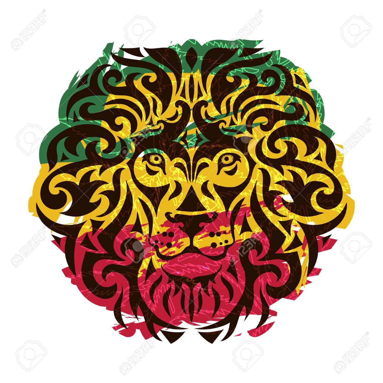 rasta theme with lion head on a white background vector