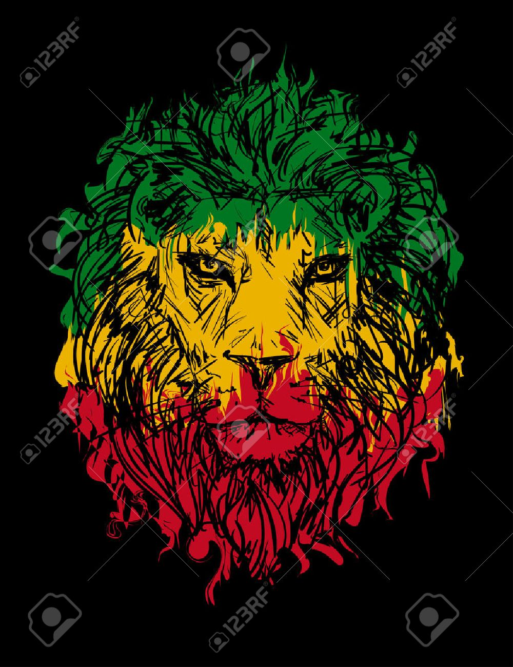 rasta theme with lion head on black background vector illustration