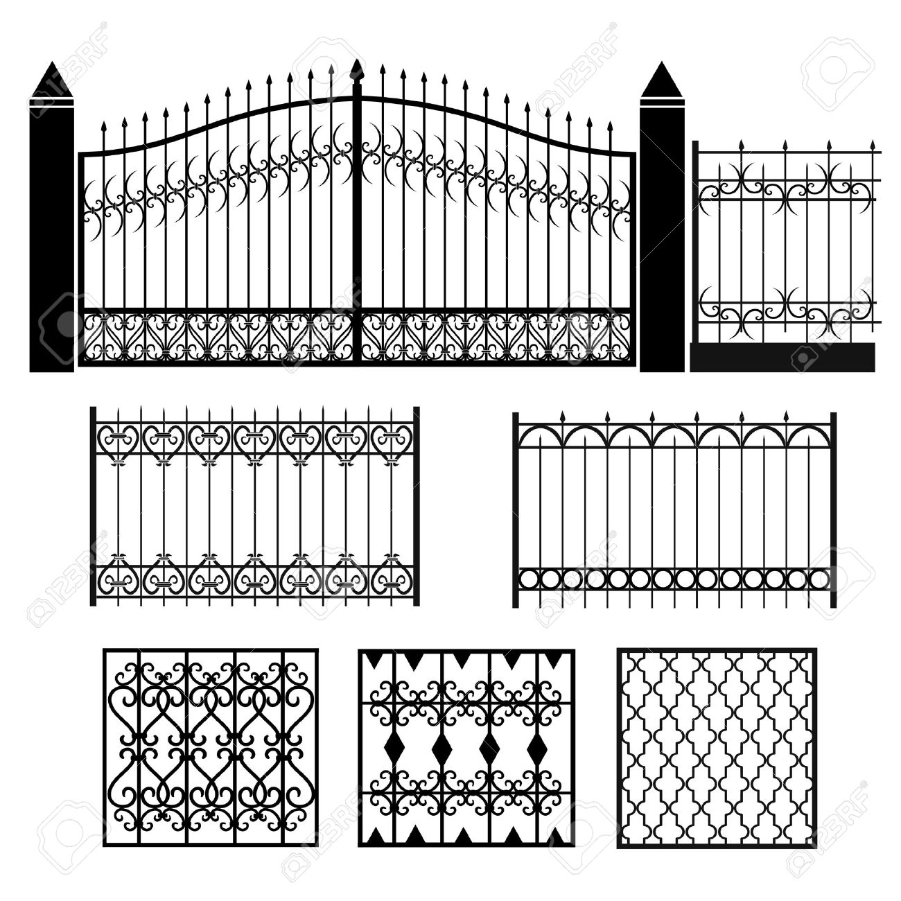 Metal Wrought Iron Gates Grilles Fences Royalty Free Cliparts