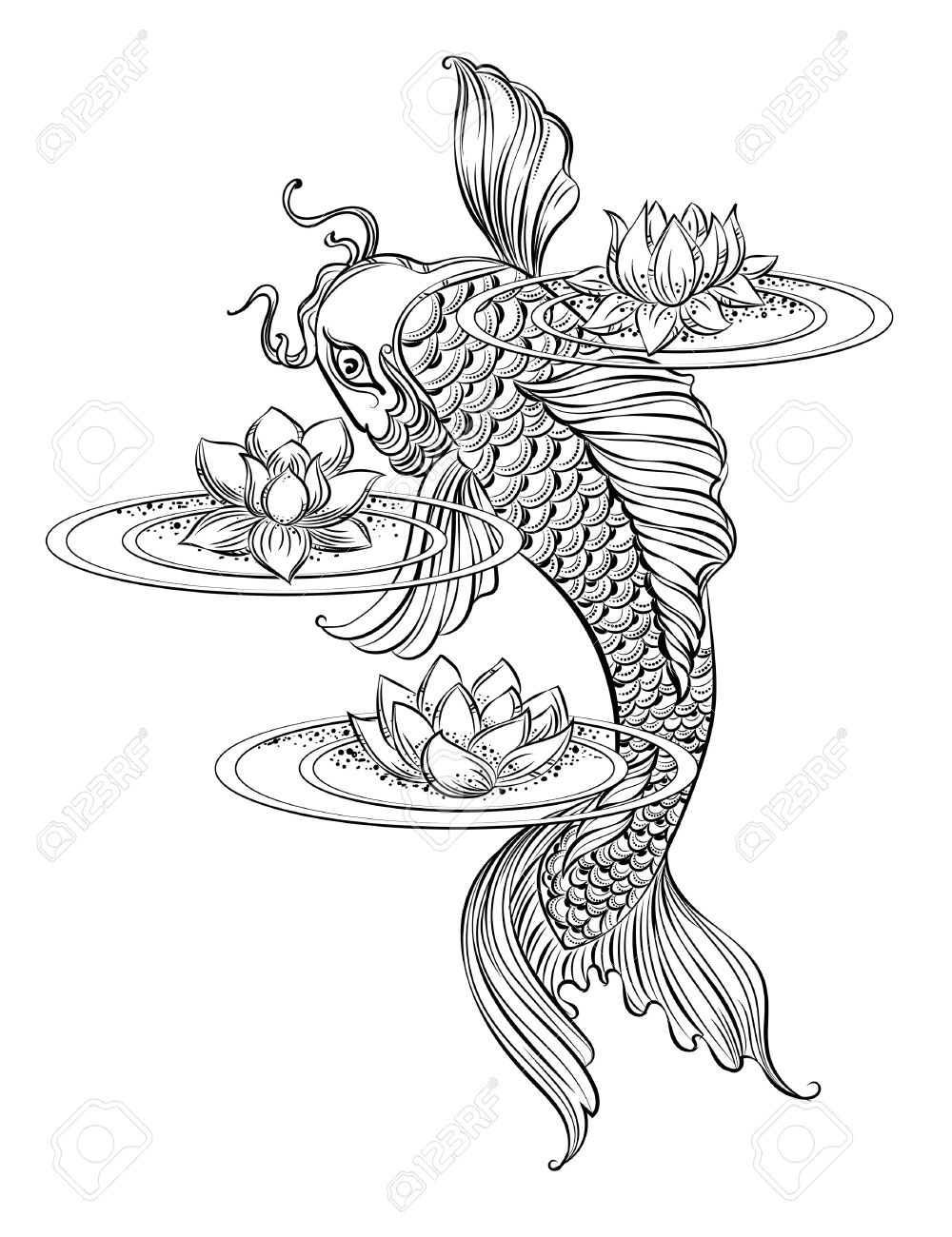 0963ac16f3e46 Hand drawn Asian spiritual symbols - koi carp with lotus and waves. It can  be