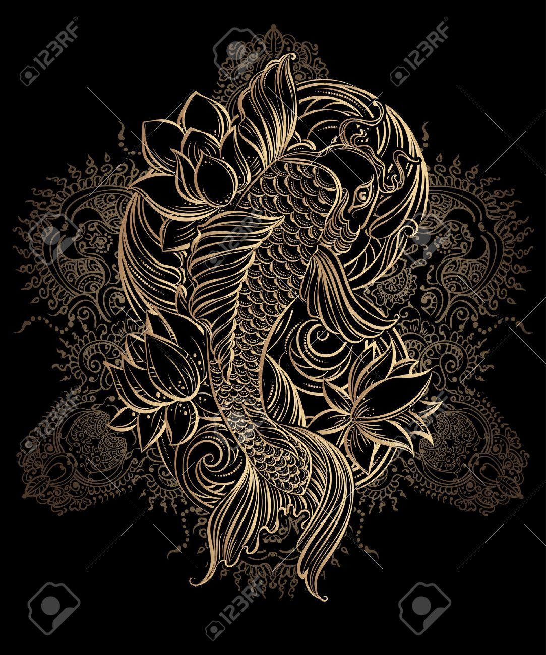 Hand drawn Asian spiritual symbols - gold koi carp with lotus and waves on a black background. It can be used for tattoo and embossing or coloring - 56640865