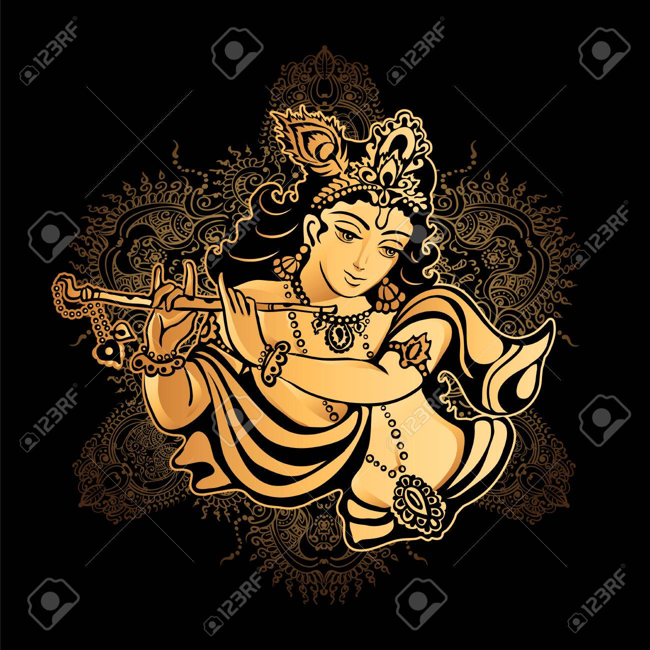 59180612 krishna janmashtami hindu festival hare krishnas golden krishna playing a flute on a black backgroun