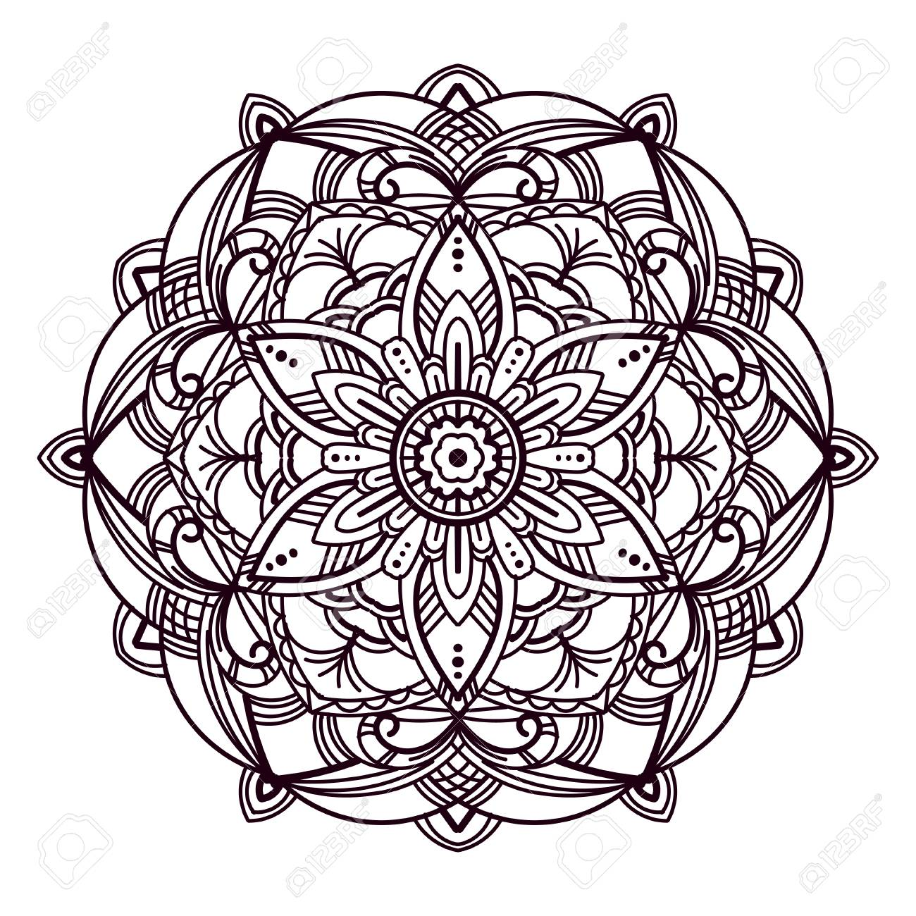 Mandala Hand Drawn Vector Illustration For Coloring Pages