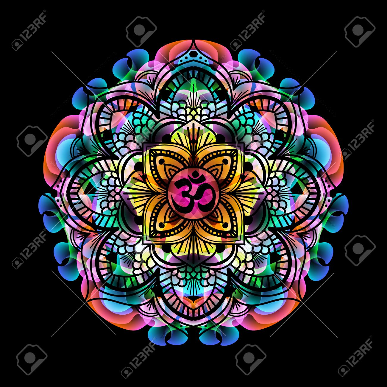 mandala - circle decorative spiritual indian symbol with OM sign