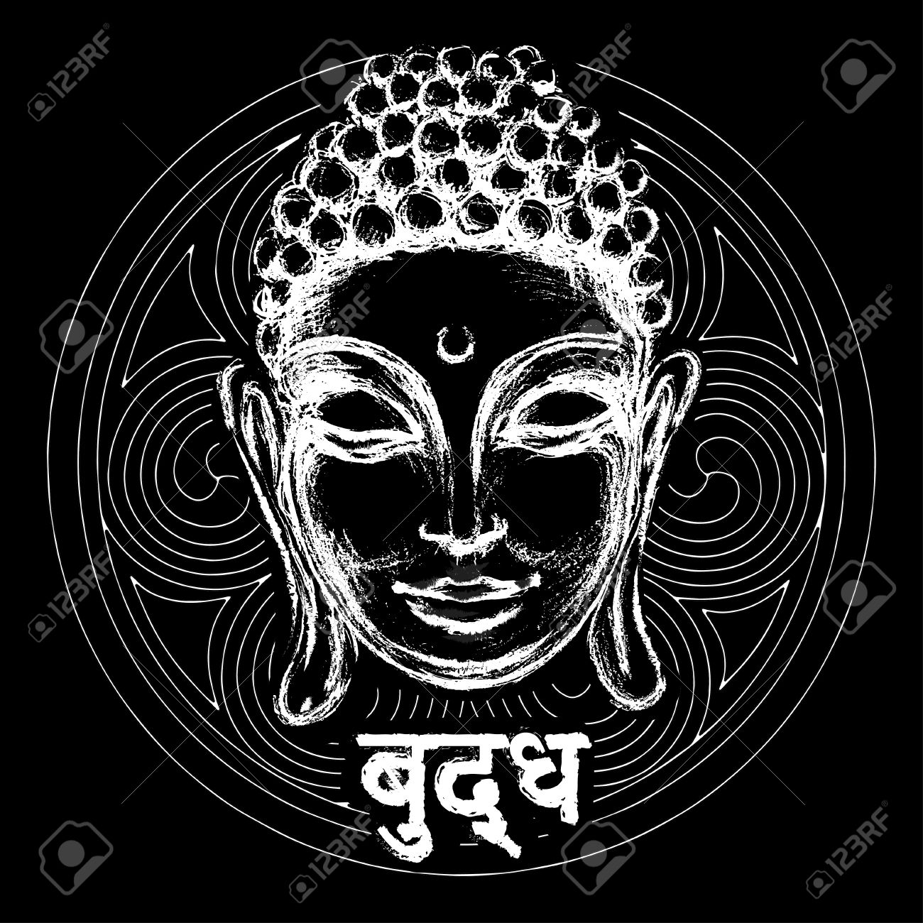 Sketch head smiling buddha in meditation and nirvana in a state of sketch head smiling buddha in meditation and nirvana in a state of zen banque d biocorpaavc Images