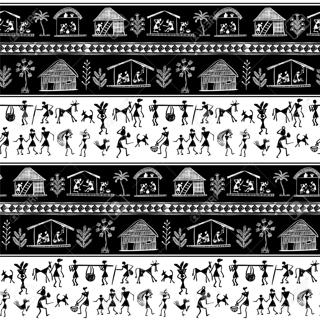 Warli painting seamless pattern hand drawn traditional the vector warli painting seamless pattern hand drawn traditional the ancient tribal art india pictorial language is matched by a rudimentary technique thecheapjerseys Image collections