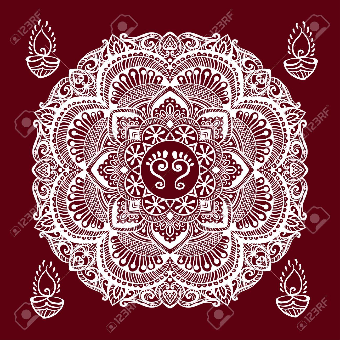 Happy Diwali And Lakshmi Puja Mandala Background Kolam Rangoli