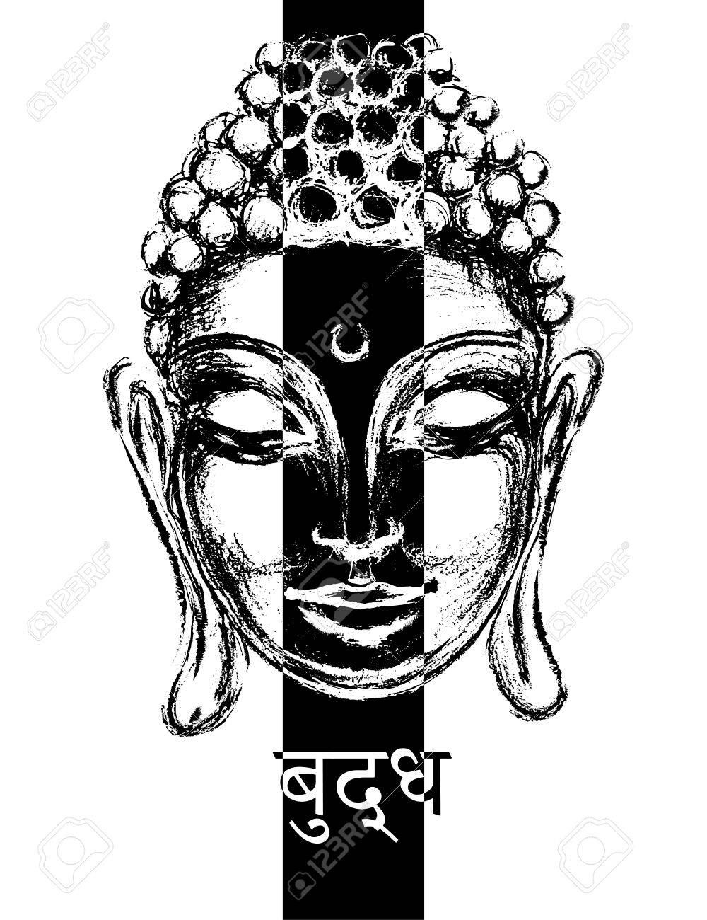 Sketch Head Smiling Buddha In Meditation And Nirvana In A State