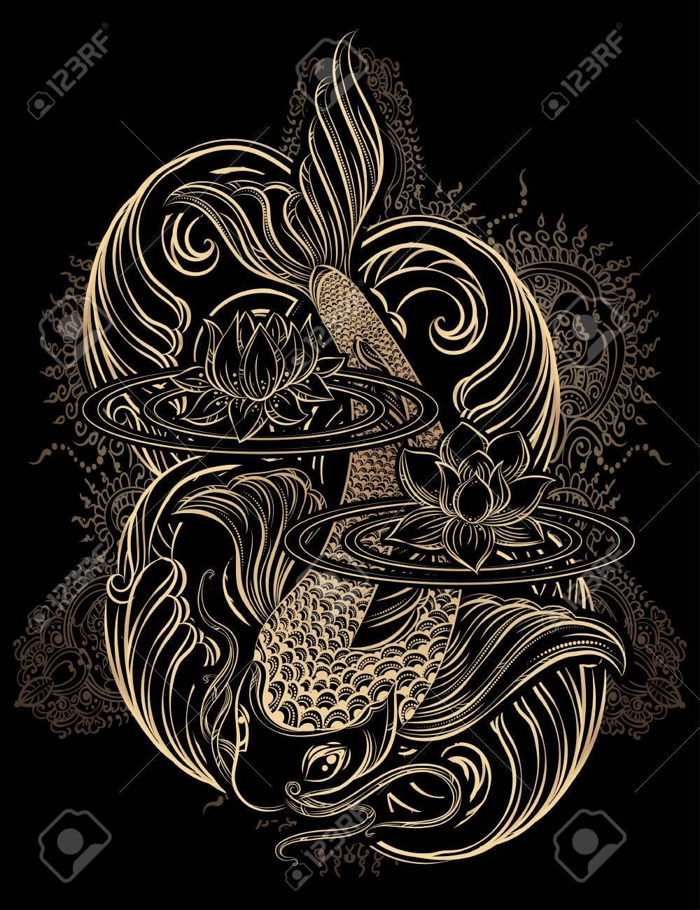 Hand Drawn Asian Spiritual Symbols Gold Koi Carp With Lotus And