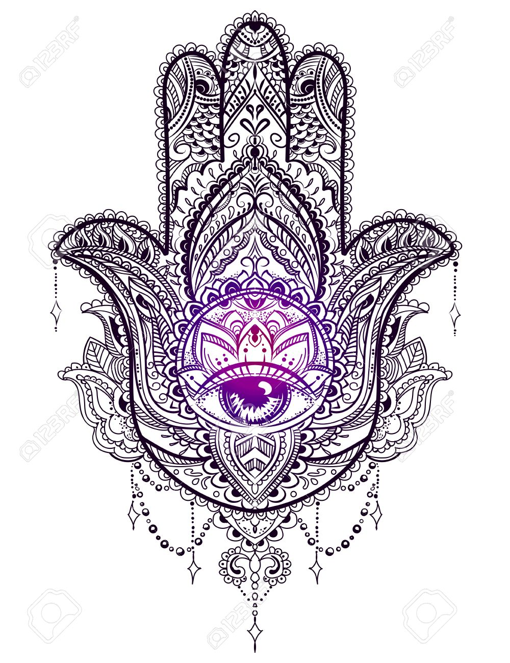 hand drawn ornate amulet hamsa hand of fatima ethnic amulet