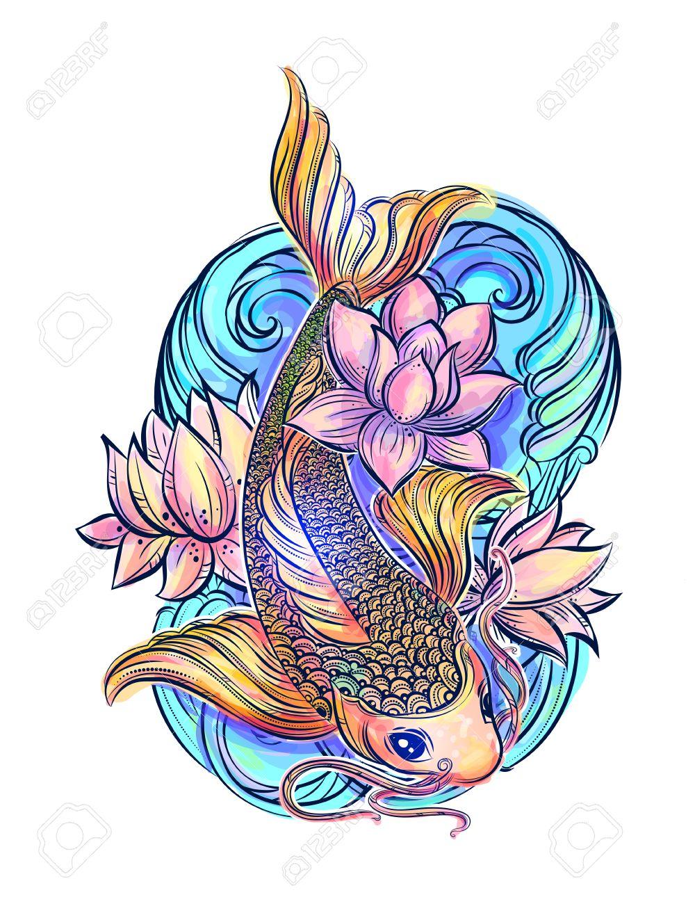 dibujado a mano smbolos de asia la carpa koi colorido con loto y las
