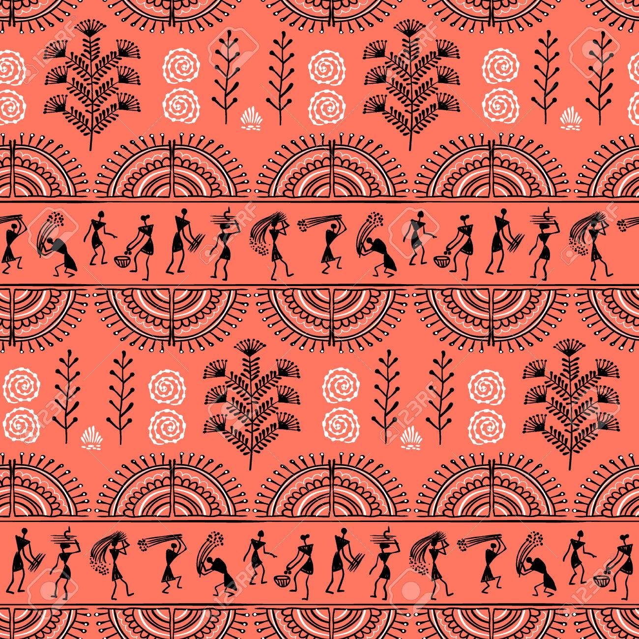 Warli painting seamless pattern hand drawn traditional the vector warli painting seamless pattern hand drawn traditional the ancient tribal art india pictorial language is matched by a rudimentary technique altavistaventures Image collections