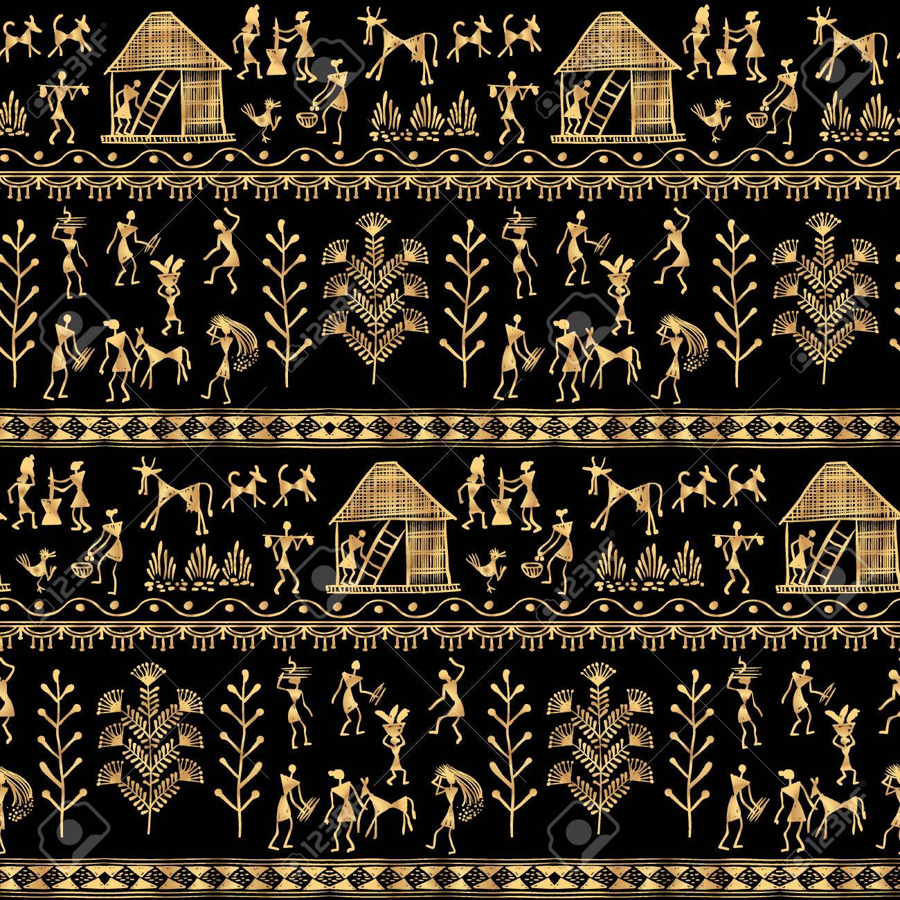 Warli painting seamless pattern hand drawn traditional the vector warli painting seamless pattern hand drawn traditional the ancient tribal art india rudimentary technique depicting rural life of the thecheapjerseys Image collections