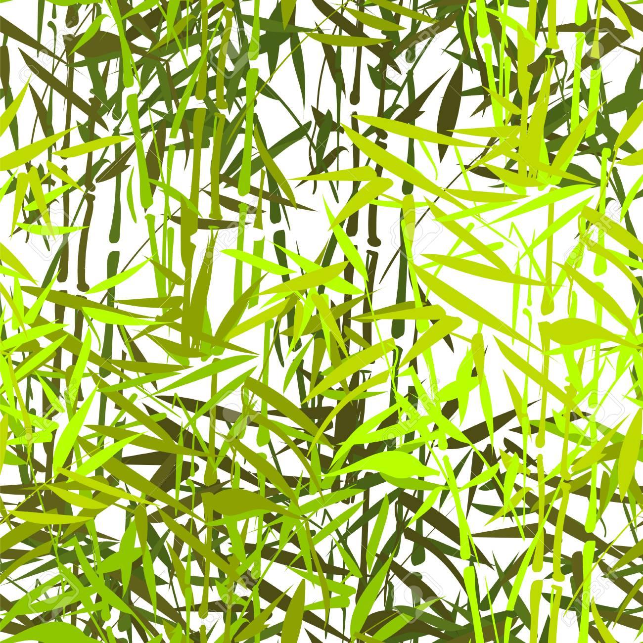 Tropischen Bambus Vektor Nahtlose Muster Auf Einem Weissen