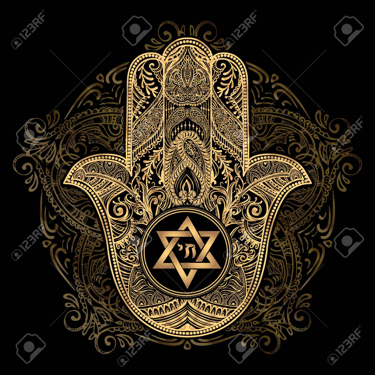 Elegant hand drawn Isolated traditional Jewish sacred amulet and religious symbols - Hamsa or hand of Miriam, palm of David, star of David, Rosh Hashanah, Hanukkah, Shana Tova - 69699579