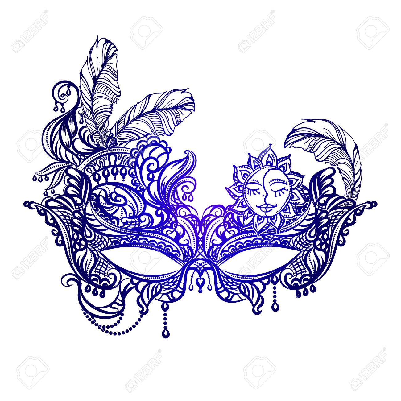 Hand drawn face masks in the style of Boho Chic. Festival Mardi Gras, masquerade. - 69824352