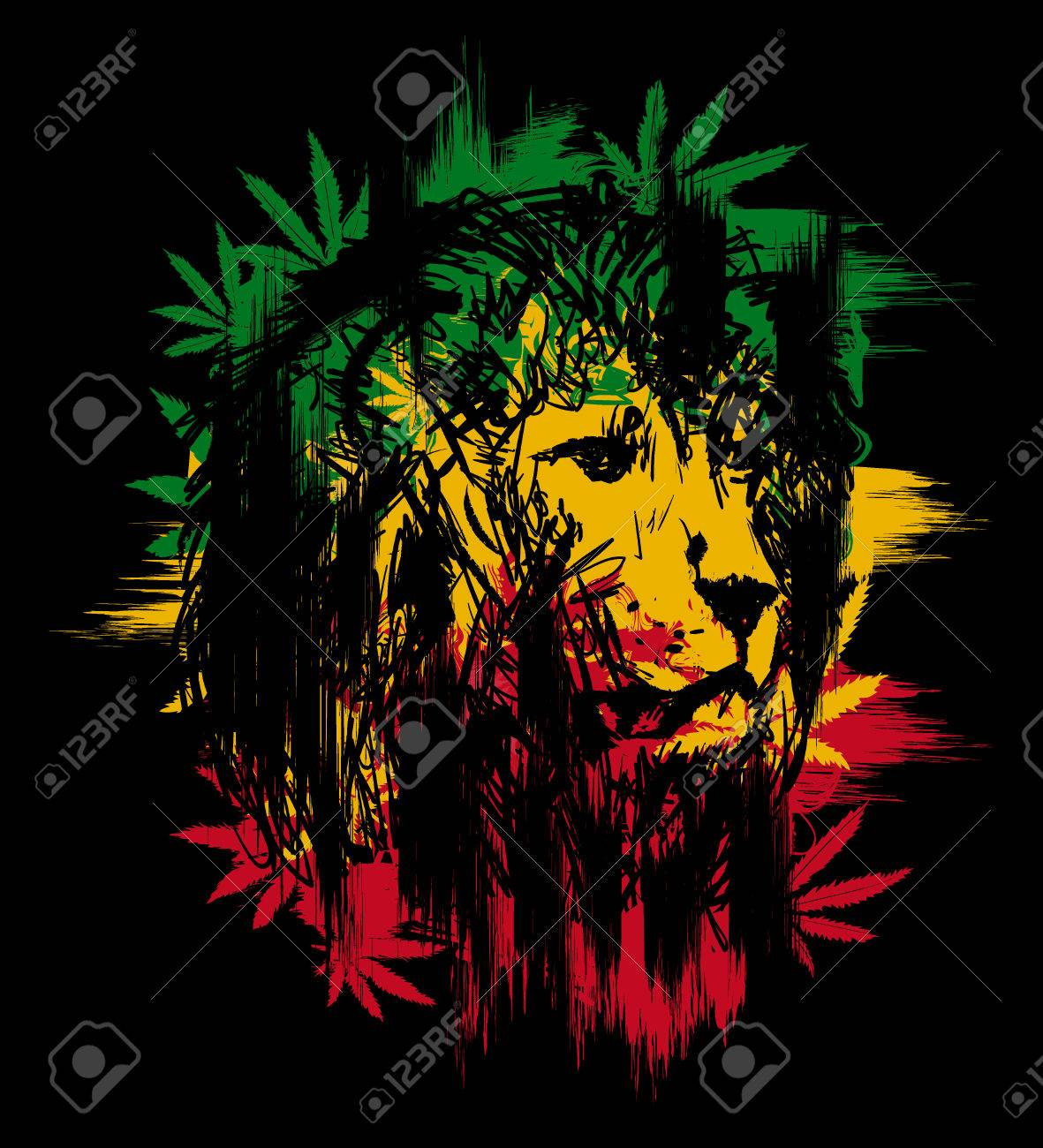 Rasta theme with lion head on black background vector illustration stock vector 69992491