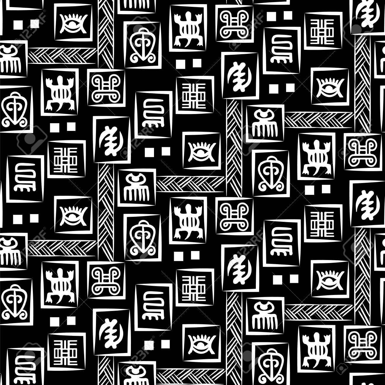 african adinkra pattern black and white digital art ritual