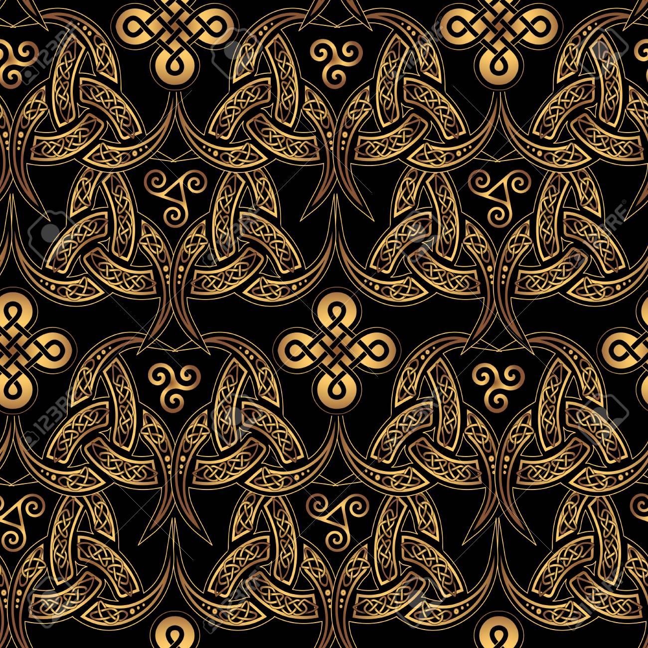 Fond D écran Sans Couture Celtique Scandinave élégants Motifs Ethniques Dorés De Druides Sur Un Fond Noir