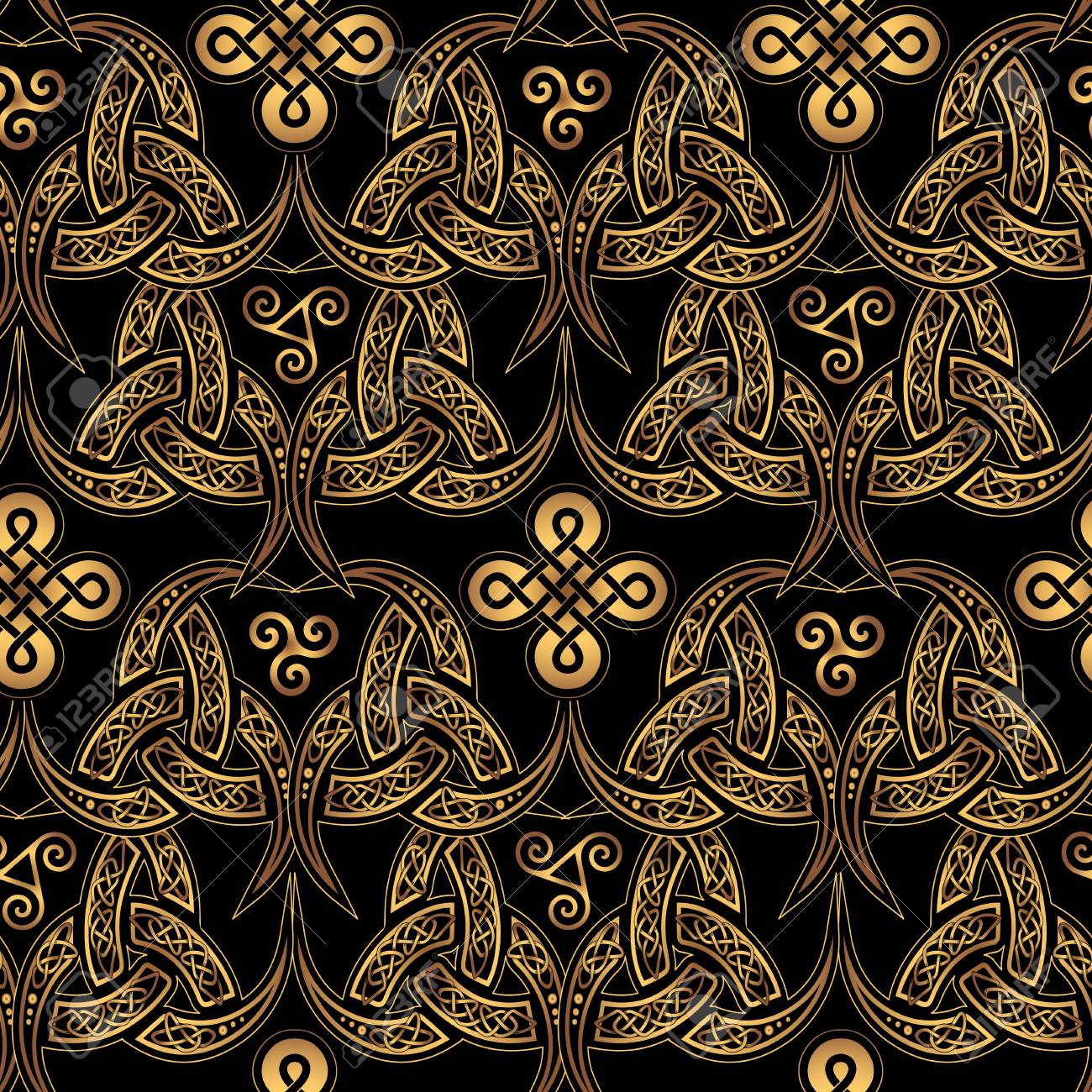 Scandinavian Celtic Seamless Wallpaper Elegant Golden Ethnic Patterns Of Druids On A Black Background Stock