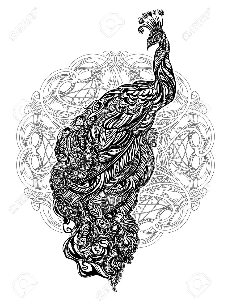Monochrome black and white peacock tattoo on a mandalve background in art nouveau style stock vector