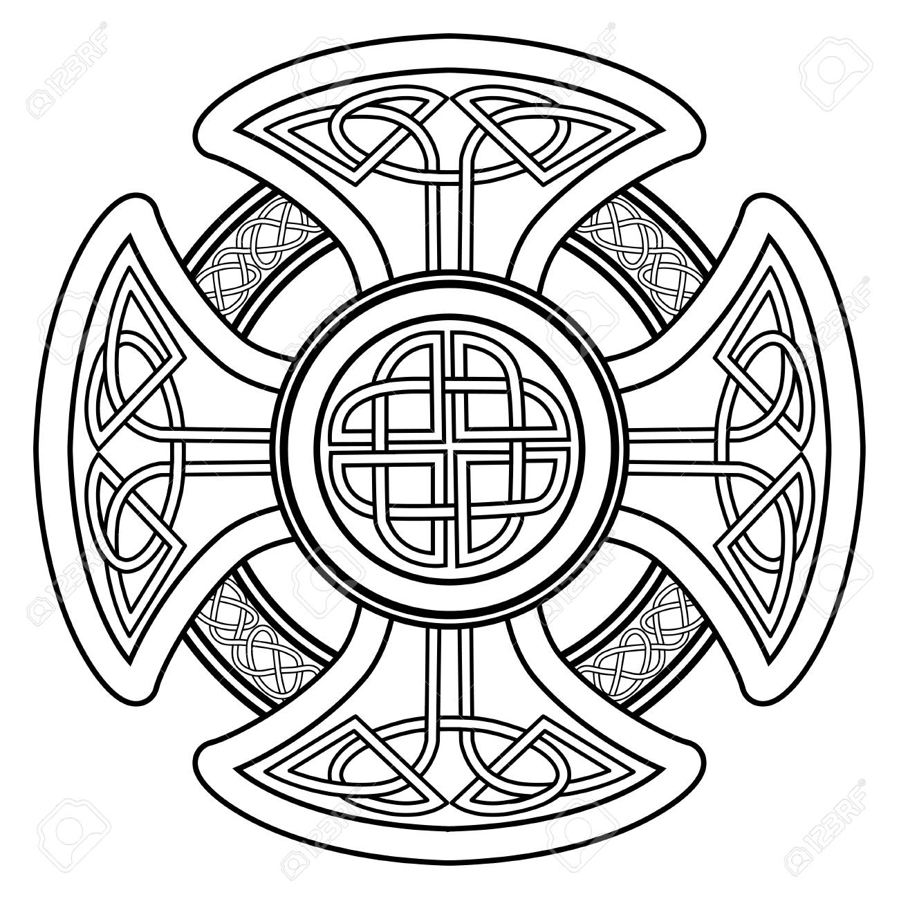 Isolated Celtic Cross From National Scandinavian Ornament. Symbol Of  Druids, Ireland And Scotland Stock