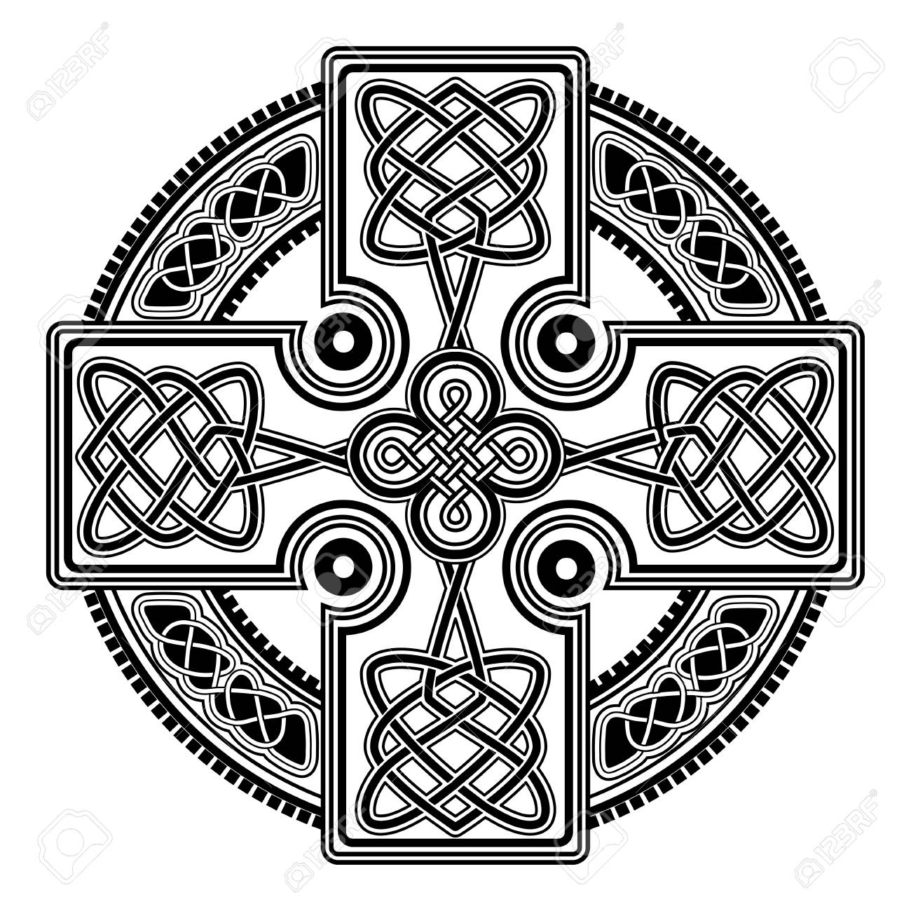 Isolated Celtic Cross From National Scandinavian Ornament Symbol