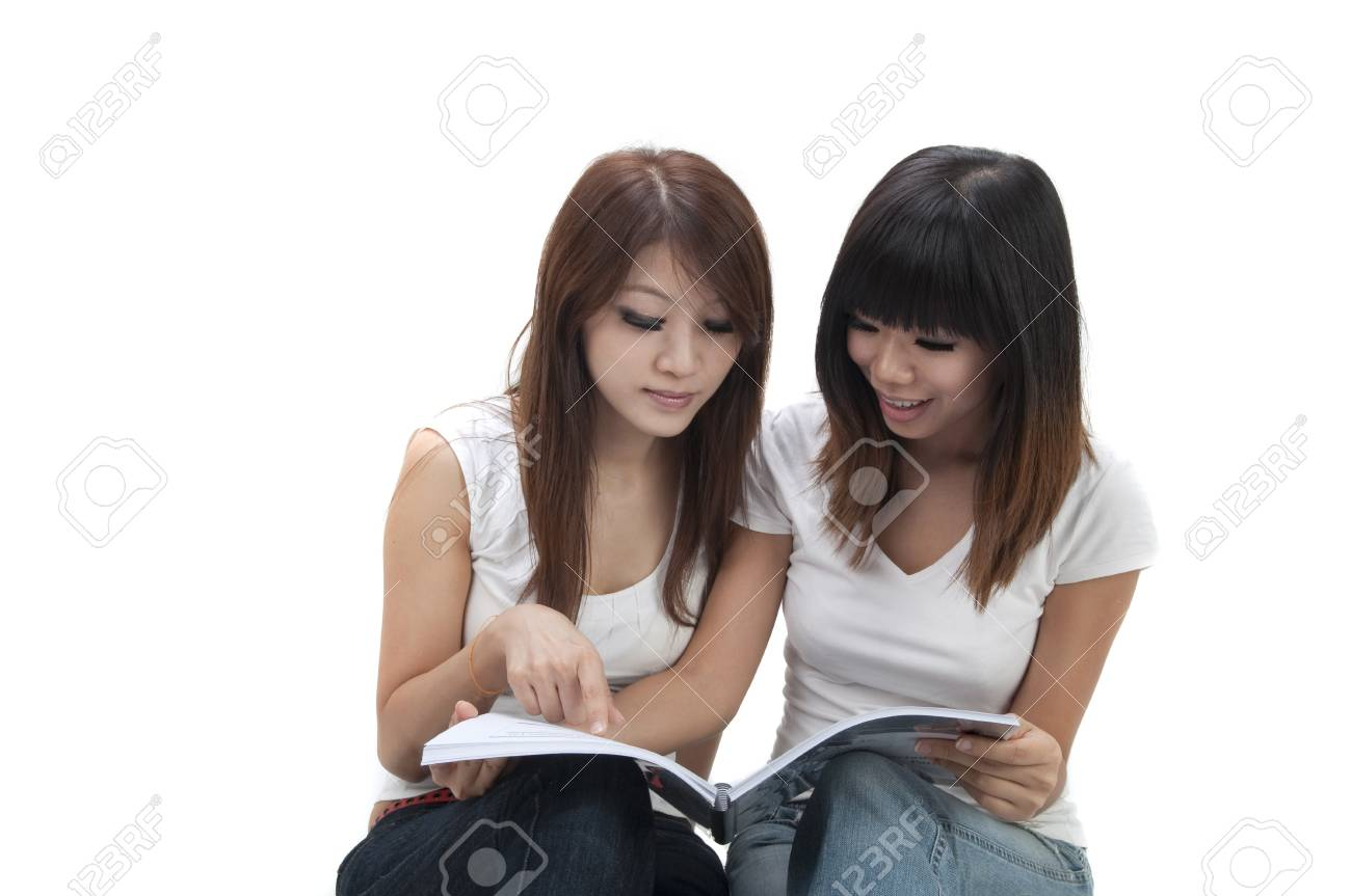 asian college student with isolated white background Stock Photo - 7888670