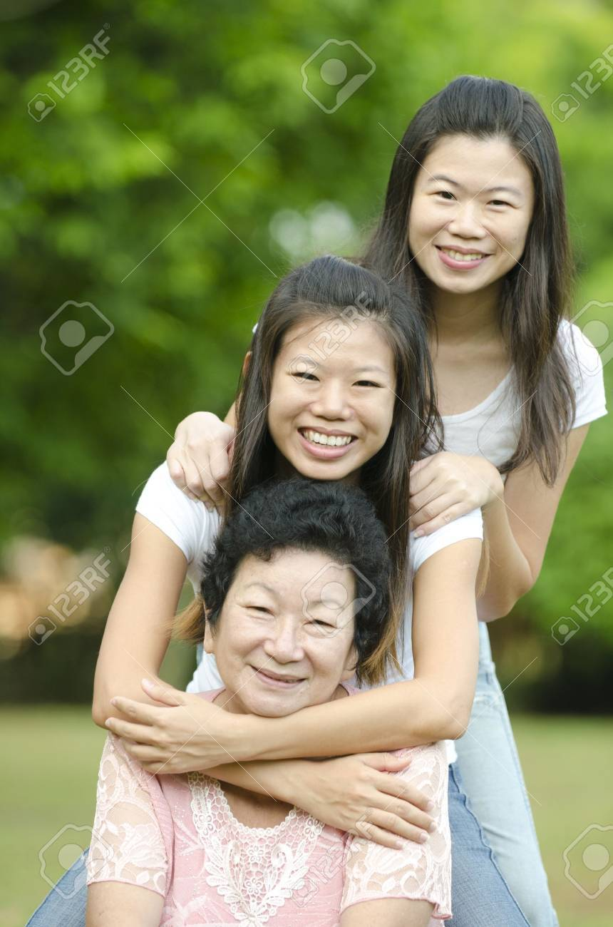 Happy Asian Senior lady and her daughters Stock Photo - 10361200