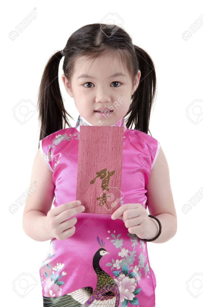 asian girl holding red packet,chinese new year theme. Stock Photo - 10906674