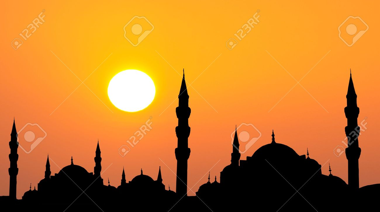 Hagia Sophia and The Blue Mosque  silhouette during sunset in Istanbul Turkey rahmadan concept photo Stock Photo - 14675601