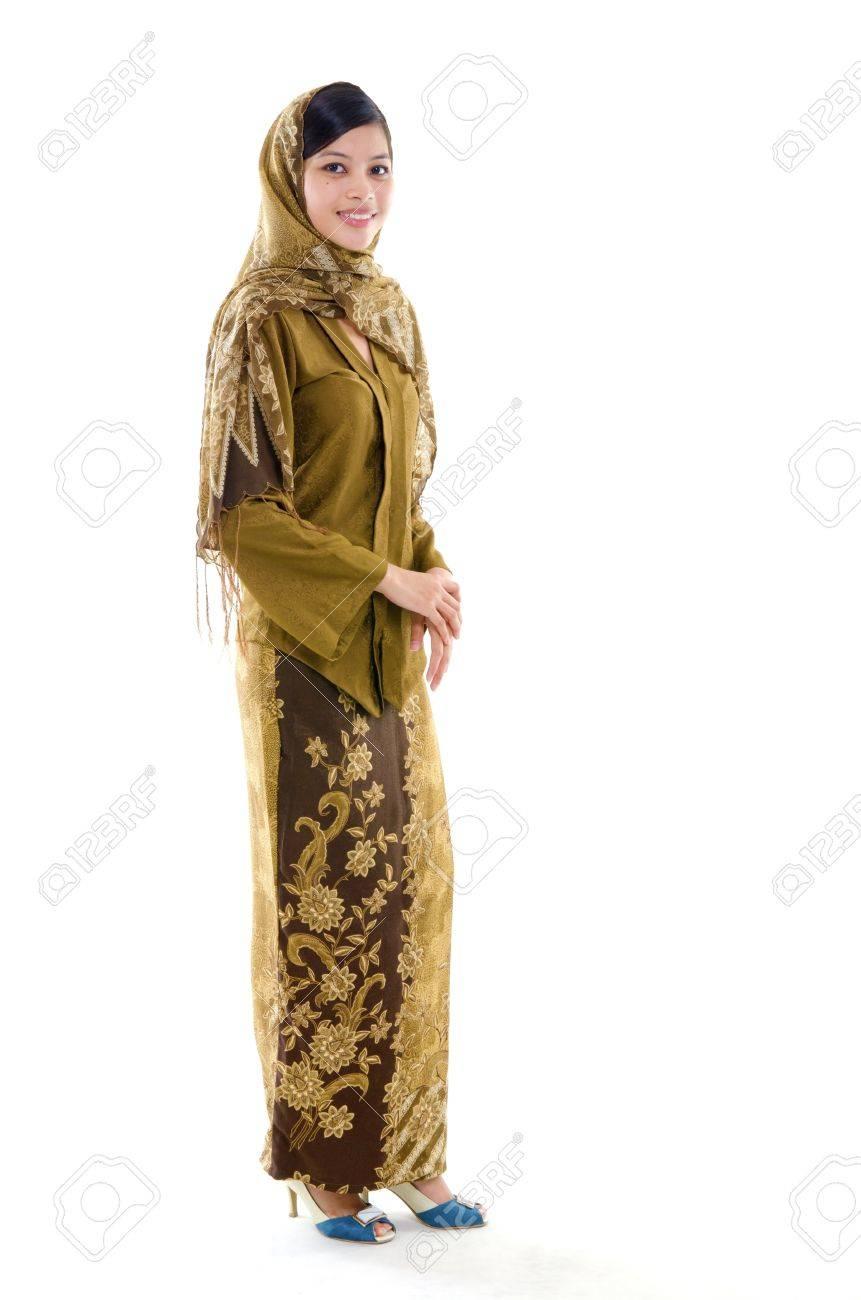 Full Body Young Muslim Woman Traditional Kebaya On White Background