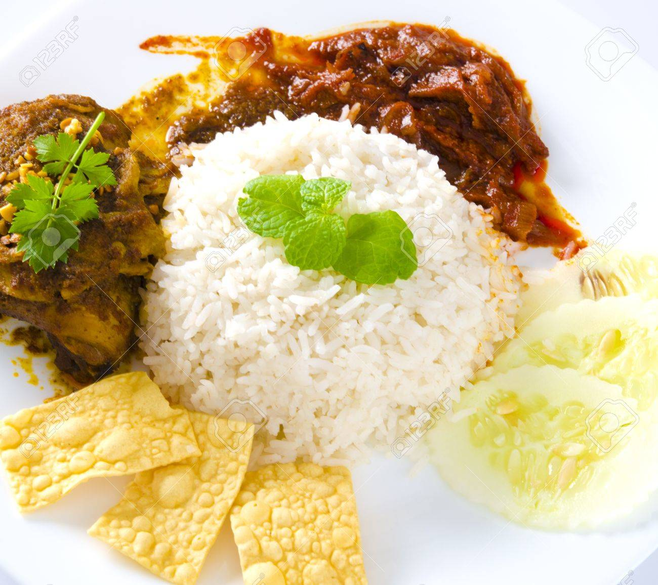 Nasi lemak traditional malaysian spicy rice dish Stock Photo - 14990234