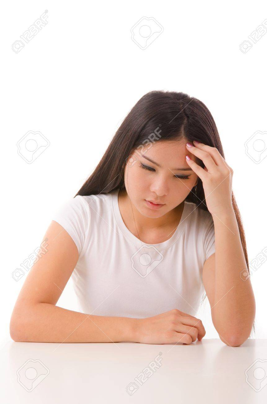 asian girl having a depression, isolated on white Stock Photo - 15448987