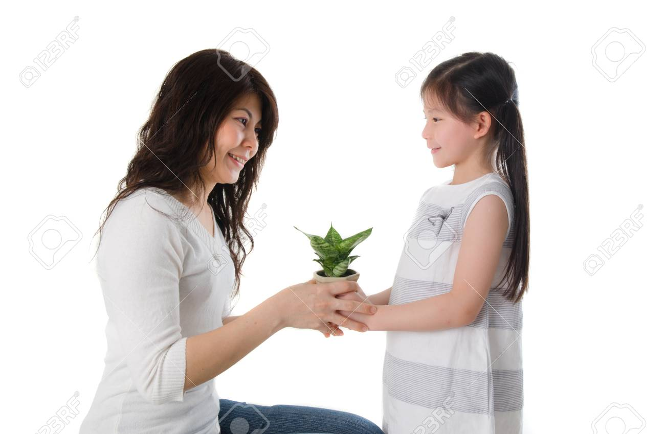 asian girl and mother giving present, plant Stock Photo - 16128673