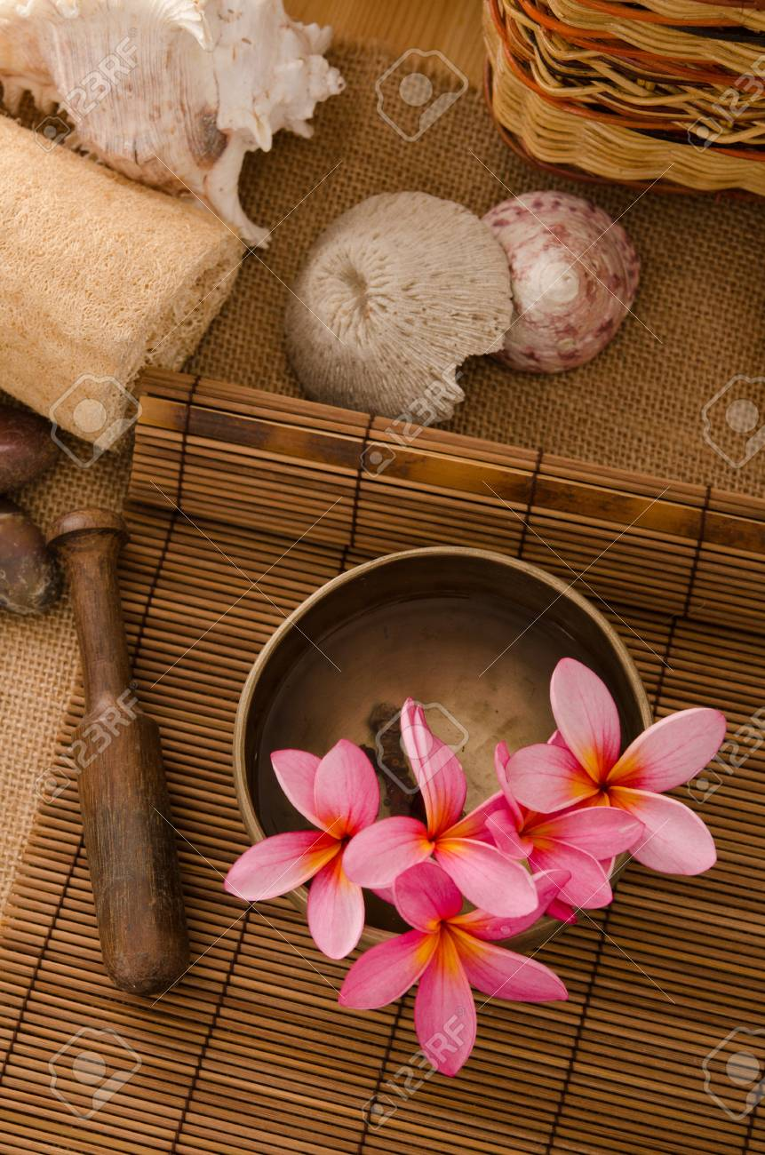 photo of tropical spa setup with frangipani flower Stock Photo - 16323603