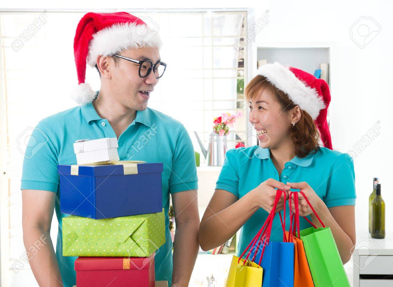 asia family christmas celebration, chinese south east asian people Stock Photo - 16791074